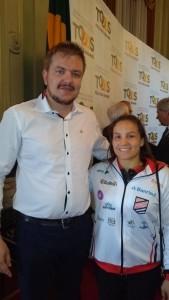 Secretário Rafael Rufino e judoca Maria Portela